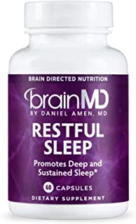 Dr. Amen brainMD Restful Sleep - 60 Capsules - Promotes Relaxation & Calm, Contains Melatonin, Valerian, GABA & Magnesium, Non-Habit Forming - Gluten-Free - 15 Servings