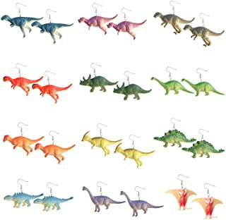 12 Pairs Dinosaur Earring Set Resin Dinosaur Drop Dangle Earrings Cute Colorful Dinosaur Dangle Earrings for Girls Women
