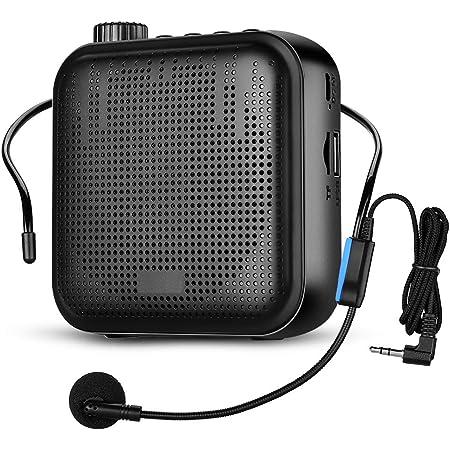 APROTII Amplificador de Voz, Sistema de PA Recargable de 12 Vatios (1200 mAh) con Micrófono con Cable para Profesores, Guía Turístico y más (Negro)