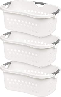 IRIS USA, HLB-1, Comfort Carry Laundry Basket, White, 3 Pack