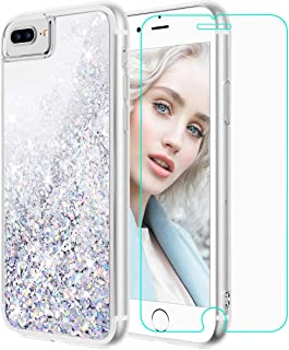 Maxdara iPhone 8 Plus Case, iPhone 7 Plus Glitter Liquid Case with Screen Protector Floating Bling Sparkle Luxury Pretty Girls Women Case for iPhone 6 Plus 6s Plus 7 Plus 8 Plus (Silver)