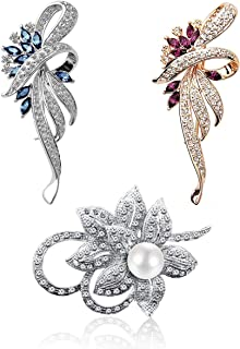 Merdia Brooch Pin for Women Flower Brooch with Created Crystal for Wedding,Party (3pc