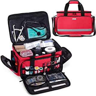 CURMIO Medical Bag, Nurse Bag Clinical Bag with Inner Dividers and No-Slip Bottom for Home Visits, Health Care, Hospice, Gift for Nursing Students, Physical Therapists, Doctors, Red