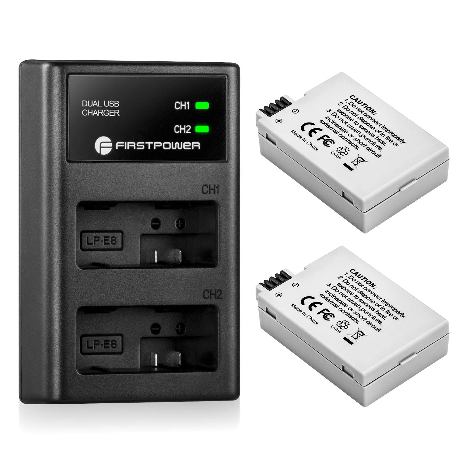 FirstPower LP-E8 Battery and Dual USB Charger for Canon EOS Rebel T3i, T2i, T4i, T5i, EOS 550D, 600D, 650D, 700D, Kiss X4, Kiss X5, Kiss X6 Cameras (2-Pack 1900mAh)