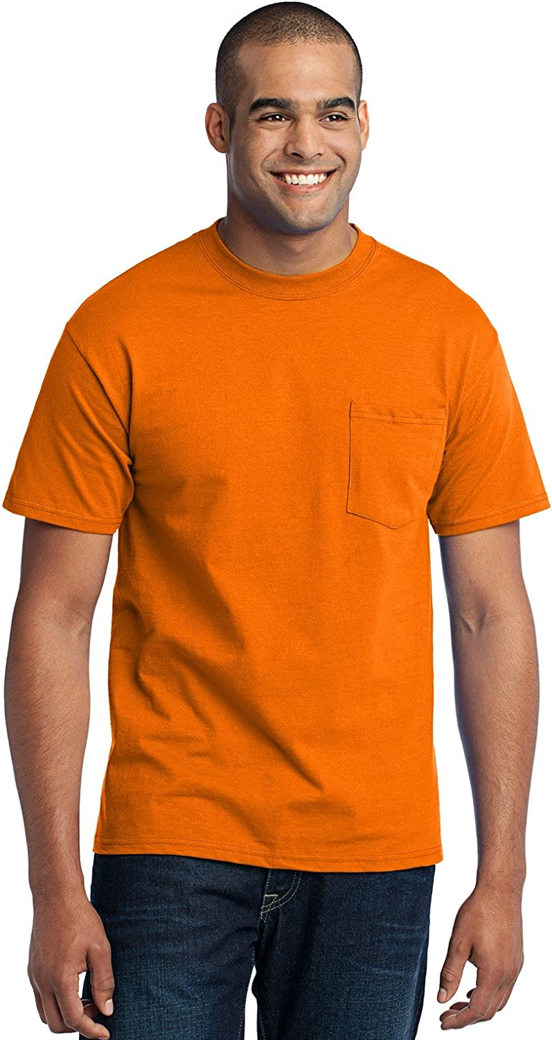 Port & Company Tall 50/50 Cotton/Poly T-Shirt with Pocket-LT (Safety Orange)