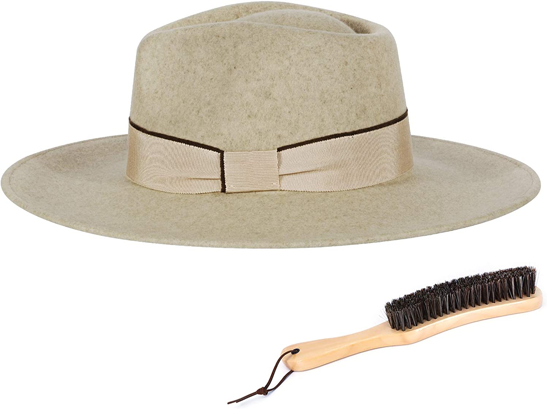 FEMSÉE Fedora Hats for Men Women 100% Wool Felt Hat Vintage Wide Brim Western Sun Hat