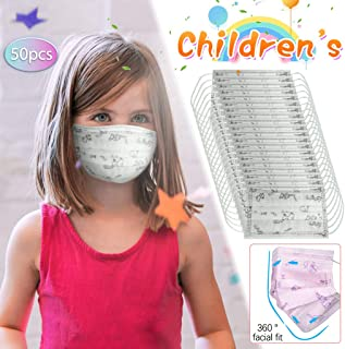 50PCS Children's Breathable Face Cover, Disposable 3-Ply Anti-Dust Face Cover With Elastic Earloop Dustproof Non-woven Anti-Particle Anti-droplet Anti-pollen,For Kids Kiddie White