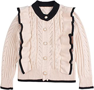 Peecabe Ruffles Baby Girls Cardigan Cotton Knit Sweaters for Girls Autumn Winter Toddler Kids Outdoor Cloth 2-6Y