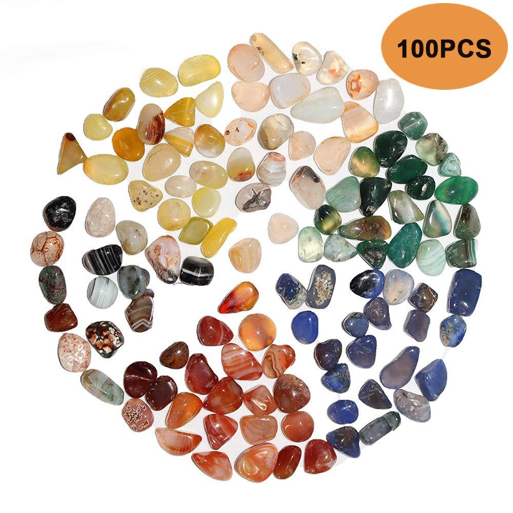 Bloomoak - 100 Piezas de Piedras de ágata Natural Pulida, Mezcla de Colores para jardín, decoración de Piedras, pasillos, macetas, jarrón, Acuario: Amazon.es: Jardín