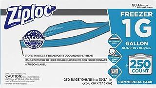 SC Johnson Professional Ziploc Freezer Bags, For Food Organization and Storage, Double Zipper, Gallon, 250 Count