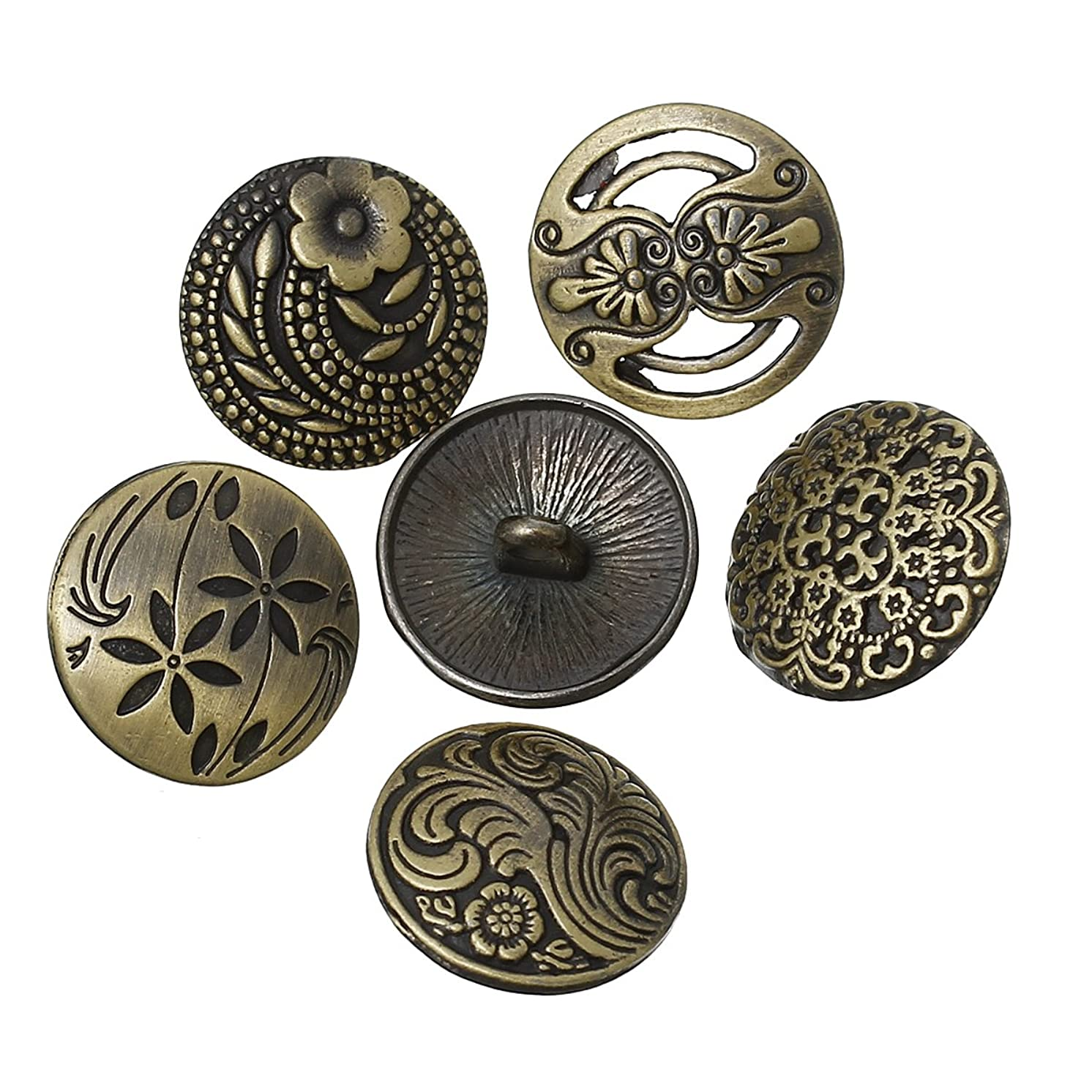 PEPPERLONELY Brand 10PC Antique Bronze Sewing Metal Buttons Round Flower Pattern Carved 17mm