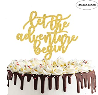 Let the Adventure Begin Cake Topper for Graduation Party Going Away Travel Themed Wedding Party Decorations