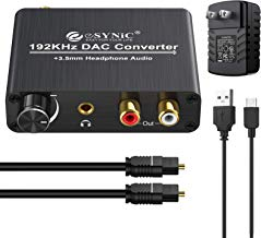 192kHz DAC Converter eSynic Digital to Analog Converter Volume Control Digital Optical Coaxial Toslink to Analog Stereo L/R RCA 3.5mm Audio Adapter for Xbox HD DVD Blu-ray PS3 PS4 Apple TV Amps Cinema