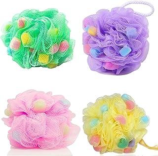 Majik Large Bath Shower Sponge Loofahs 4 Packs, Pouf Loofahs 60g/Pcs, Exfoliating Mesh Eco-friendly Shower Ball Sponge for...