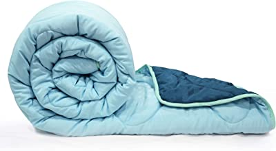 """Divine Casa 150 GSM Microfibre Reversible Thick Ac Comforter for Single Bed (59"""" X 90"""") Inches, Cyan & Navy Blue"""