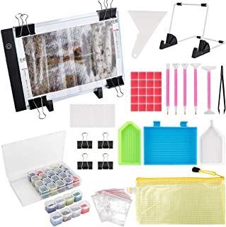 (59PCS) Diamond Painting A4 LED Light Pad Kit,DIY Dimmable Light Brightness Board,LED Artcraft Tracing Light Table,Reusable A4 Painting Pads Great for Full Drill & Partial Drill 5D Diamond Painting.