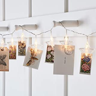 Lights4fun, Inc. 10 Star Photo Clip Peg Battery Operated Warm White LED Indoor Christmas String Lights