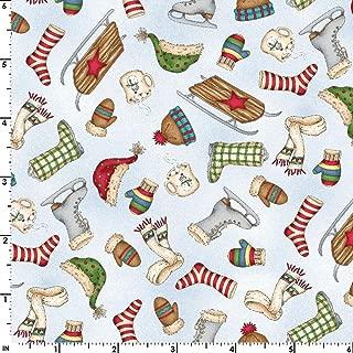 Flannel Christmas Joys Winter Things Blue MASF9004-B Fabric Sold by The Yard Maywood Studio