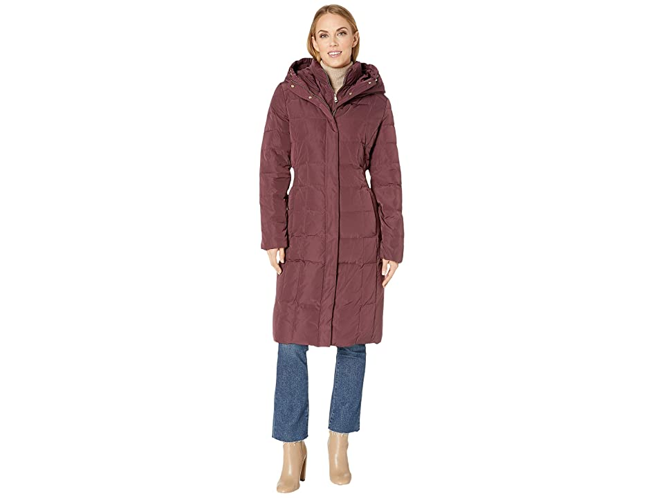 Cole Haan Quilted Down Coat with Bib Elasticated Side Waist Detail and Oversized Hood (Merlot) Women