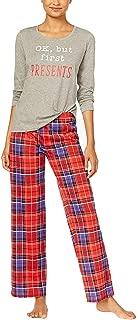 Womens Top and Printed Fleece Pants Pajama Set Color Holiday Plaid Size