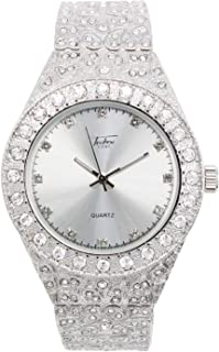 Men's Iced Out Silver Watch with Simulated Diamonds and Nugget Style Hip Hop Band - Silver