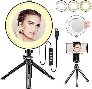 Anillo de Luz LED - BESTOPE Anillo de Luz de 8 Pulgadas Luz de Maquillaje con Trípode de Espejo y Soporte para Teléfono pa...