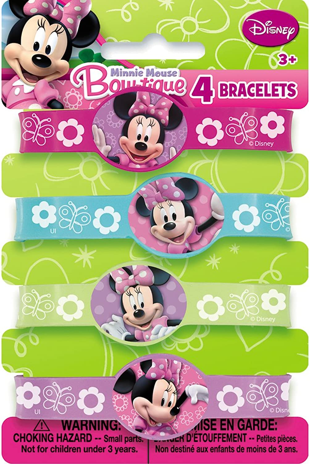 Minnie Mouse Rubber Bracelet Party Favors, 4ct