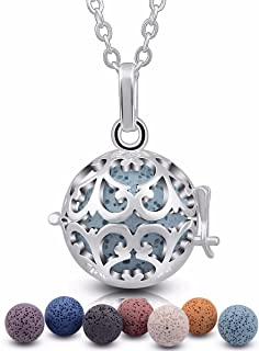 EUDORA Aroma Lava Stone Vintage Aromatherapy Essential Oil Diffuser Necklace Pendant, 24