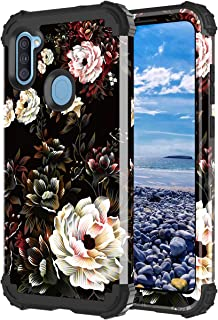 Lontect for Galaxy A11 Case Floral Shockproof Heavy Duty 3 in 1 Hybrid Sturdy Protective Phone Cover Case for Samsung Gala...