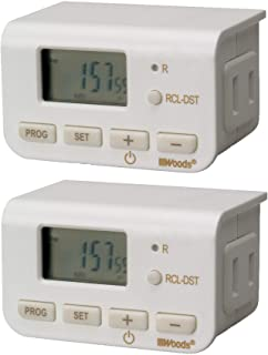 Woods 50007WD Indoor 24-Hour Digital Plug-In Timer, 2 Pack, 1 Polarized Outlet, Ideal For Automating Your Holiday Decorati...