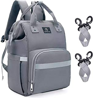 AMORNO Diaper Bag Backpack,Large Capacity Multifunction Maternity Changing Bags Baby Care Nappy Bags with Changing pad for Mom & Dad,Waterproof and Durable Travel Back Pack,Grey
