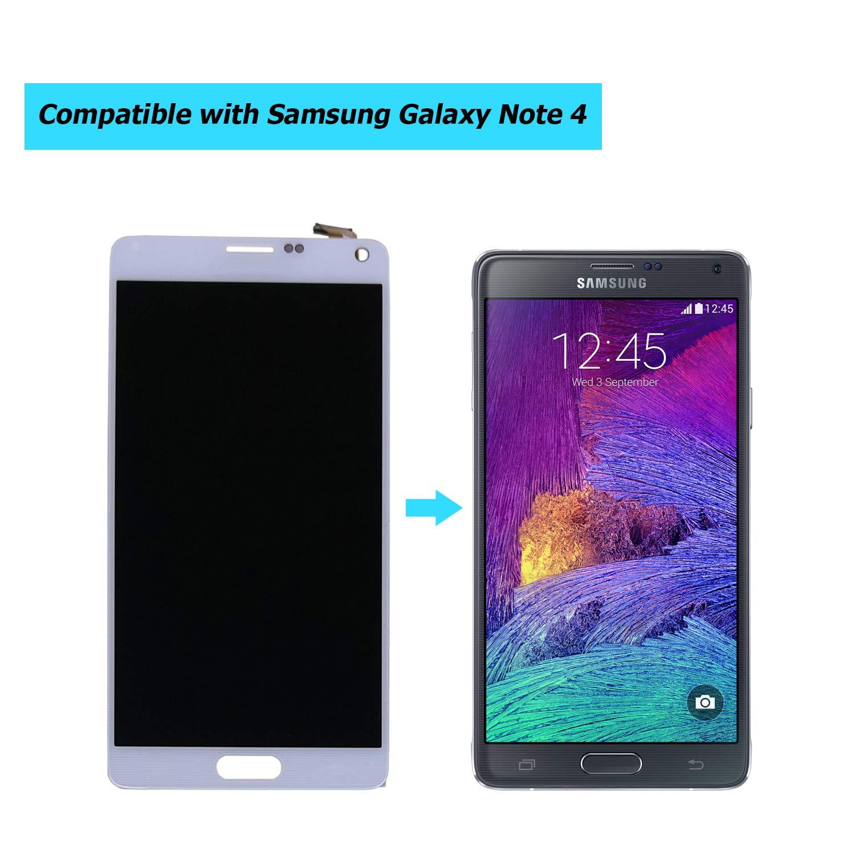 شاشة Lcd بديلة سوبر Amoled متوافقة مع Samsung Galaxy Note 4 N910 N910a N910h N910p N910r4 N910t N910v N910f N910w8 رقمي مع مجموعة أدوات أبيض Amazon Ae