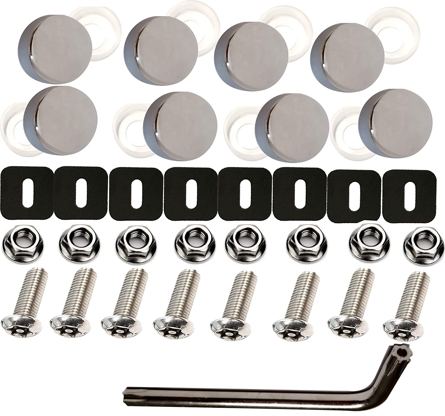 Anti-Theft License Plate Screws-8 Security Machine Screws Give Tamper-Resistant Mirror Polished White License Plate Screw Covers