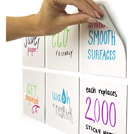 Sticks to Stainless Steel Window Any Smooth Surface Desk +6 Tackie Markers mcSquares Stickies Dry Erase Calendar 3 Pack w//to Do List for Fridge Mirror Monthly Whiteboard for Refrigerator Door
