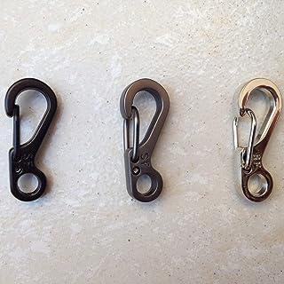 EDC Tools Spring Design Carabiner Clasps Portable Keychain Snap Clip Carabiner Hiking Buckle Split Spring Hook-Black