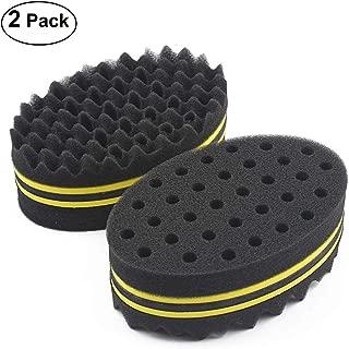 HALLO Hair Twist Black Ice Sponge For Afro Braid, Dreadlock Coils Curl Brushes Yellow (2 Packs)
