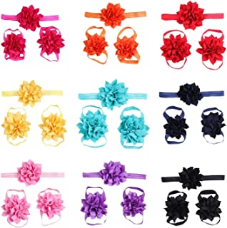 Baby Girls Headbands and Barefoot Sandals Flower Bow Set 10 Packed
