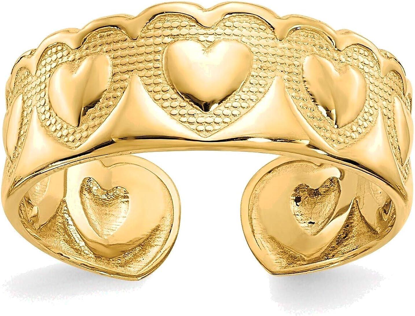 Bonyak Jewelry Heart Toe Ring in 14K Yellow Gold in Size 11