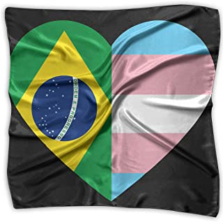 Bikofhd Brazil Flag Transgender Pride Flag Heart Unisex Silky Scarf Handkerchief Bandana Wrap Scarf