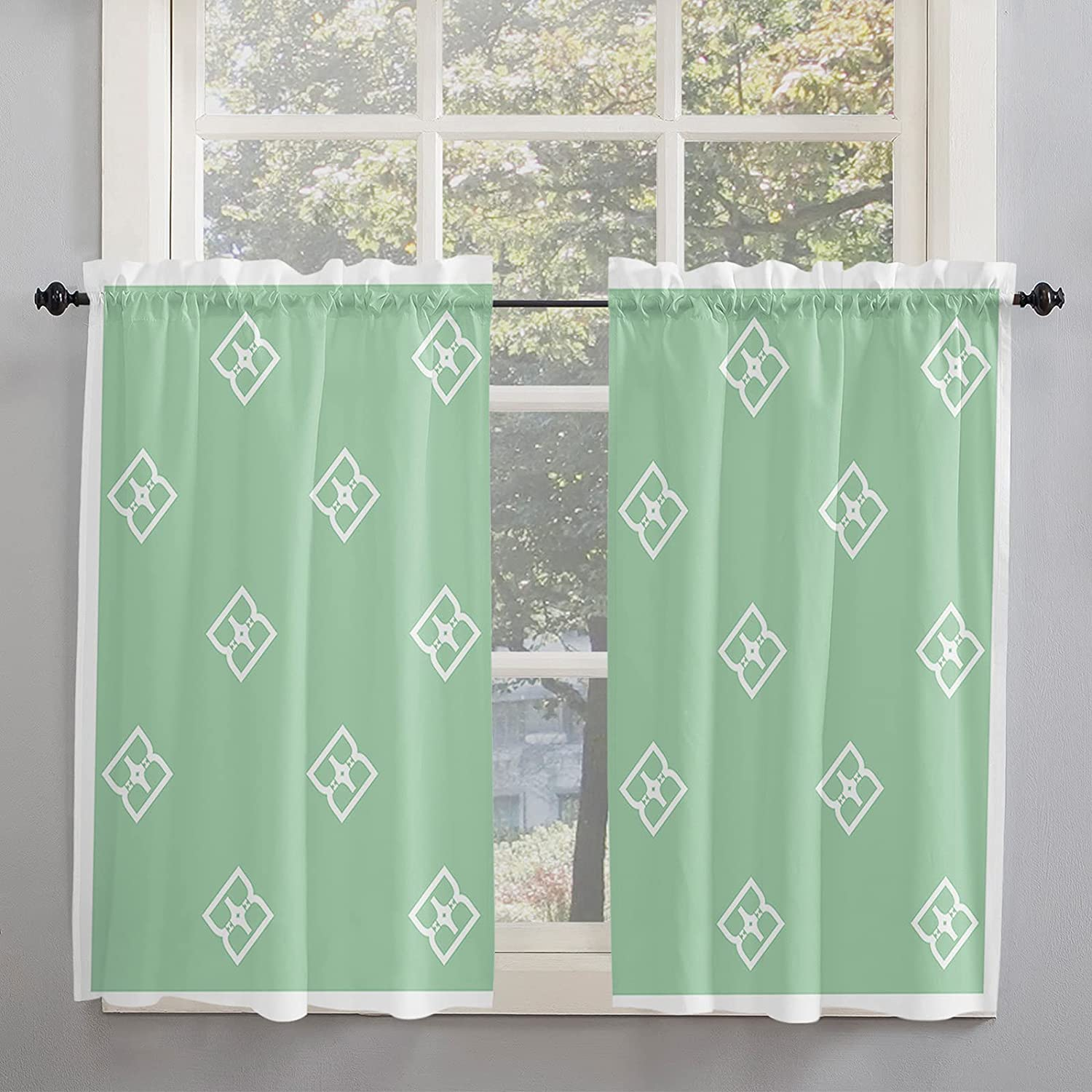 Fresh Green Geometry Pattern Tiled Kitchen Curtains 45 Inch Leng