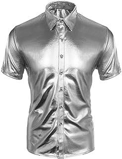 CUSFULL Camisa Hombre con Manga Corta Slim Fit para Fiesta/Discoteca/Baile de Disfraces/Máscara Camisa Casual Steampunk Cu...