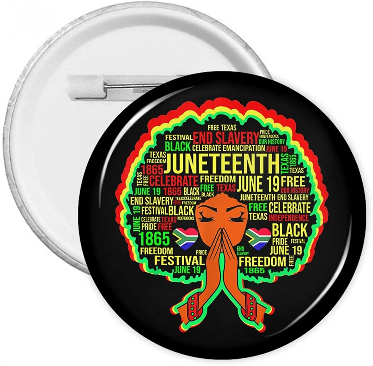 Free Ish Since 1865 Juneteenth African American Pride Round Pins Button Badge Brooch Decors for Backpacks Clothes Hats Bags