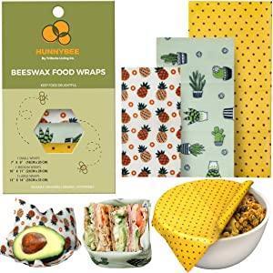 HUNNYBEEE Beeswax Reusable Food Wraps - (3 packs) Beeswax Wrap Sustainable Products, Organic Wax Wrap, Eco-friendly Bees Wrap, Organization Storage Bags, Cheese Bee Wrappers Cling, Wax Paper for Food