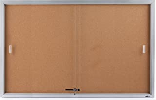 Displays2go 60 x 36 Inches Wall Mountable Enclosed Bulletin Board with Sliding Glass Doors, Cork Board Display Surface (CBSD6036SV)