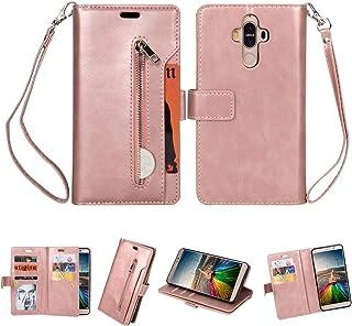 LENASH För Huawei Mate 9 multifunktionell blixtlås horisontellt flip läderfodral med hållare och plånbok & 9 kortplatser o...