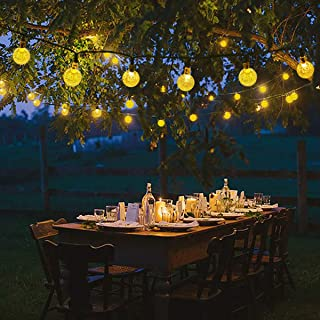 Lalapao Globe String Lights 30LED 19.7ft Crystal Ball Starry Fairy Lights Waterproof 8 Modes Solar Powered Outdoor Christmas Lights for Xmas Tree Patio Lawn Garden Home Wedding Party (Warm White)