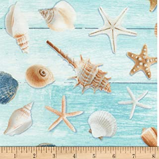 Timeless Treasures Beach is My Happy Place Allover Seashells Aqua Fabric by The Yard