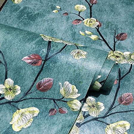 45CMX5M Blue Vintage Floral Peel and Stick Wallpaper Self Adhesive Vinyl Floral Contact Paper for Cabinets Dressser Drawer Shelves Walls Furniture Removable