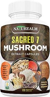 Sacred 7 Organic Mushroom Extract Capsules - Lion's Mane, Chaga, Reishi, Cordyceps, Turkey Tail, Maitake, Shiitake Immunit...