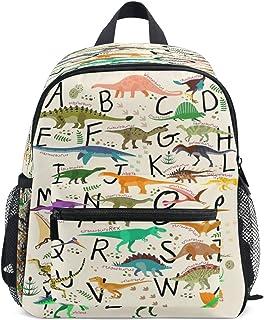 RXYY - Mochilas para niños con diseño de dinosaurios tropicales y letras del alfabeto, para viajes, mochila escolar, con correa para el pecho, para niñas y niños